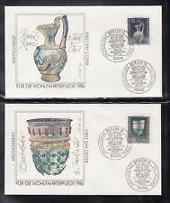 LA 388 ) 4 beautiful FDC Berlin 1986 - Welfare: Precious bowls, glass carafe....