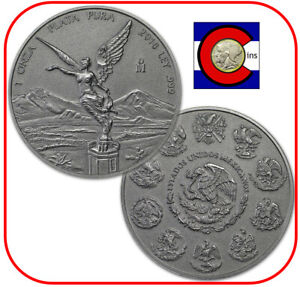 2018 Mexico Libertad 1 oz Antiqued Mexican Silver Coin in direct fit capsule