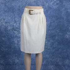 Vintage Womans Petite by Fundamental Things Cream Belted Skirt Career 14P