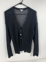 J Jill Womens Black Open Knit Pointelle Cardigan Sweater Hi Low Length Medium