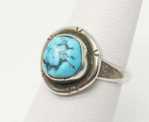 Vintage Native American Turquoise Unsigned Sterling Silver Ring - SZ 4.5