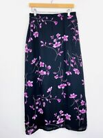 Vintage 90s Suzanne Grae Maxi Skirt Purple Floral High Waist Size 12 fit 10