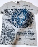 Star Wars Millennium Falcon Blueprint Large L Men's T-Shirt New With Tags NWT