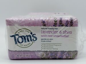Tom's of Maine Bar Soap, Lavender & Shea With Raw Shea Butter, (Pack of 6) 5 oz