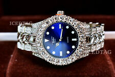 MENS ICED HIP HOP WH. GOLD PT TRENDY BLUE FACE MIAMI PARTY CLUBBERS BLING WATCH