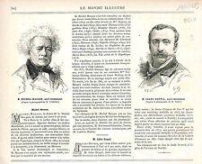 Michel Masson Romancier / Jules Goupil Peintre FRANCE GRAVURE PRINT 1883