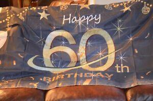 HAPPY 60TH BIRTHDAY BANNER FLAG