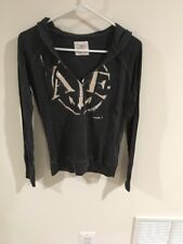 *EUC* American Eagle Black Hoodie Distressed Print Sweat Shirt Size XSmall