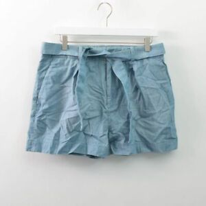 Polo Ralph Lauren High Rise Belted Trouser Chambray Shorts Cotton Blue Womens 10