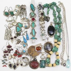 Vtg Sterling Silver Turquoise Necklace Pendant Rings Earrings Scrap Resell Lot