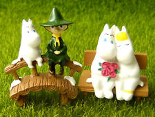 2 pcs Snufkin Moomin Bridge Couple Bench Character Fairy Garden Terrarium Decor