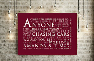 PERSONALISED GIFT | Snow Patrol Chasing Cars Inspired Song Lyrics | CANVAS WRAP
