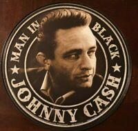 """JOHNNY CASH THE MAN IN BLACK 12"""" ROUND METAL WALL SIGN MUSIC COUNTRY NASHVILLE"""