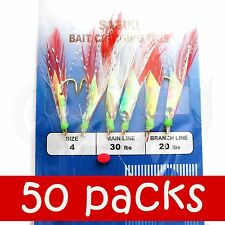 50pks Size 4 Fishing Sabiki Feather Piscatore Gold 6 Hooks Rig Bait Skin Lures