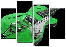 Guitarra 4p Verde grandes obras de arte impresión de LONA pared arte enmarcado Hogar Sala de Estar