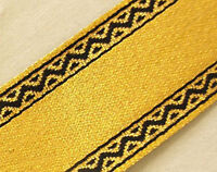 Jacquard, Ribbon Trim. Metallic Gold with Black Edges