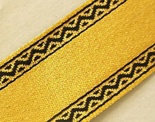 Jacquard, Ribbon Trim. Metallic Gold with Black Edges