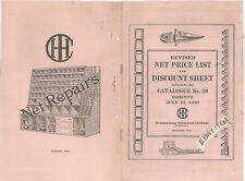 1920 INTERNATIONAL HARVESTER PRICE LIST DISCOUNT SHEET PAMPHLET FARM MACHINERY