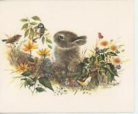 VINTAGE RABBIT BUNNY CHICKADEE GARDEN WILDFLOWERS BERRIES BLANK CARD ART PRINT