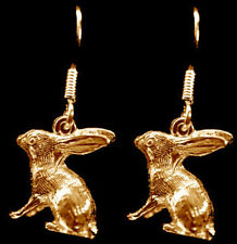 LOOK 24kt gold plated over solid sterling silver cute Bunny Rabbit Earrings jewe