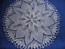 Handgestricktes rundes Deckchen  30 cm creme Baumwolle Mitteldecke