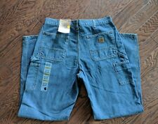 NWT Carhartt Original Fit Work Dungaree Blue Denim Carpenter Work Jeans  36/34