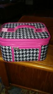 PINK  AND BLACK/WHITE HOUNDSTOOTH COSMETIC CASE