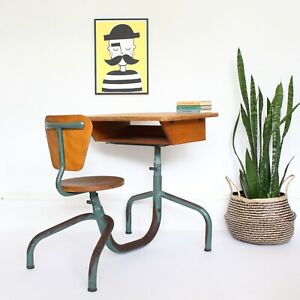 Vintage adjustable French school desk and chair attributed to Jean Prouvé