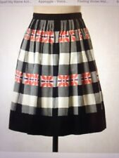FLOREAT Anthropologie Do Si Do Full Skirt Sz 12 Black White Buffalo Plaid Floral