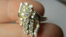 Sterling Silver 925 Estate Cubic Zirconia 14 Stone Tall Burst Ring Size 8