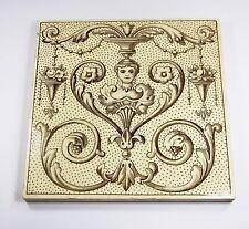 Antique Victorian fireplace tile Minton sepia lady bust Arts & Crafts c1884