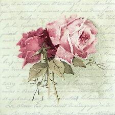 4x Paper Napkins for Decoupage Craft, Sagen - Vintage Rose Poem Lunch