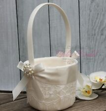 Beautiful Ivory Flower Girl Basket, Gorgeous Lace Wedding Basket with Pearls