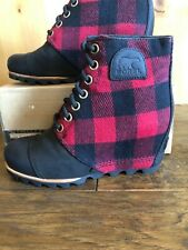 Sorel PDX  WEDGE BOOTS 8 Lace up BUFFALO PLAID RED Waterproof  Ankle rain NICE