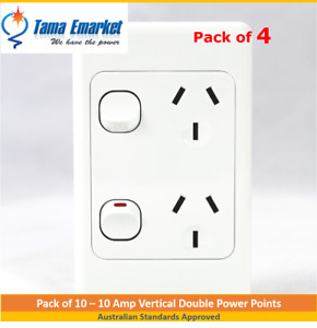 4 x 10 Amp Vertical Double Power Point GPO Socket Outlet Powerpoint White SAA
