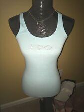 Victoria's Secret I DO Rhinestones Glitter Tank Top BRIDE Blue Size S NWT