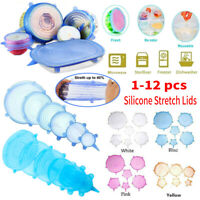 1-12pcs Silicone Fresh Sealed Cover Reusable Kitchen Food Saver Wrap Stretch Lid