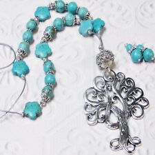 Necklace and earrings set, Tree of Life Turquoise, clip on or pierced
