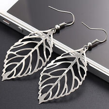 Fashion Women Gold Plated Hollow Out Leaf Drop Dangle Earrings Jewelry Best Gift
