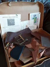Vintage Retro Leatherwork Kit, Accessories & Leather Pieces