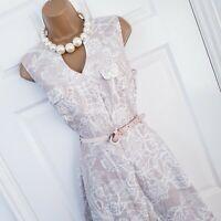 Laura Ashley Nude Beige White Floral Print Linen Summer Tea Sun Dress 12 Pockets