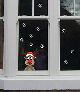 Reindeer Window Snow Flakes Kids Bedroom Girls Wall Decal Sticker Gift Christmas