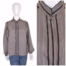 VINTAGE 80's Silver Grey Stripe Blouse 14 Retro Chic Simple Classic Shirt