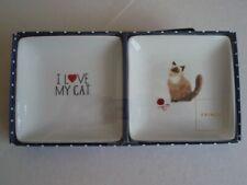 "Siamese Cat ""I Love My Cat"" Fringe Porcelian Trays - Set of 2"