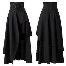 Womens Solid Gothic High Waist Layers Long Maxi Skirt Party Gypsy Hippy ClubWear
