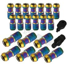 Jmd M12 X 1.5Mm 20 Piece Open Close Dust Cap Lug Nuts Bolts+ Key Lock Neo/Gold