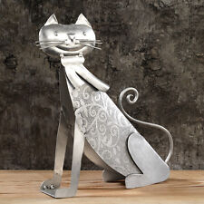 Large Contemporary Embossed Metal Cat Ornament Sculpture LAST ONE