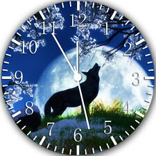 Wolf and The Moon Frameless Borderless Wall Clock Nice For Gifts or Decor Y37