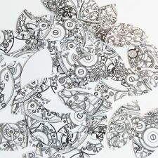 """Navette Leaf Sequin 1.5"""" Steampunk Clockworks on White Opaque Couture Paillettes"""