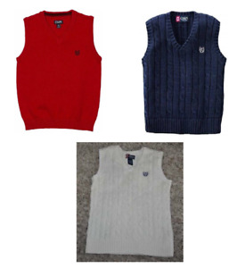 Boys Chaps Sweater Vest Cable Knit Beige Blue Red V-Neck Pullover-sz 4 to 14/16